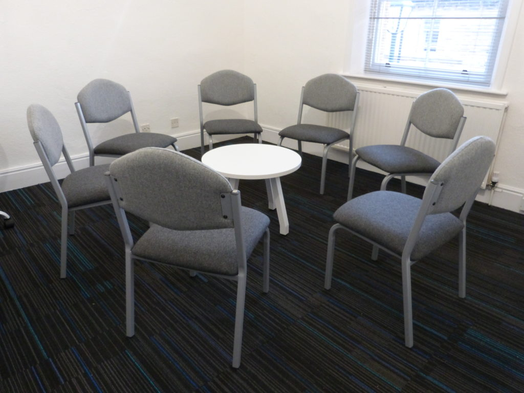 Group therapy room at the Victoria Therapy Centre, Saltaire. Group therapy room to rent
