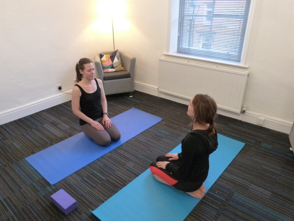 Yoga with mindfulness at Victoria Therapy Centre in Shipley