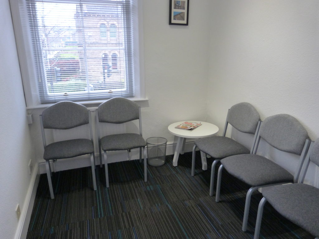 Waiting room at Victoria Therapy Centre in West Yorkshire