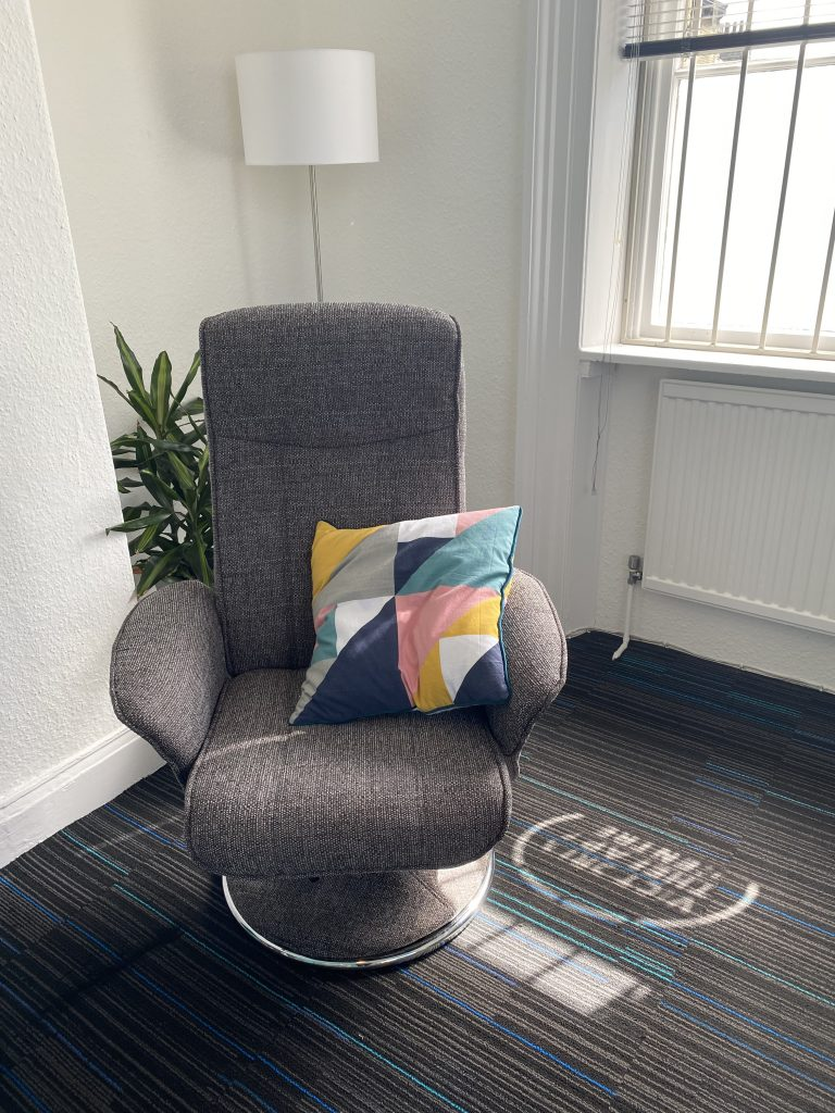 Hypnotherapy chair at Victoria Therapy Centre in Saltaire